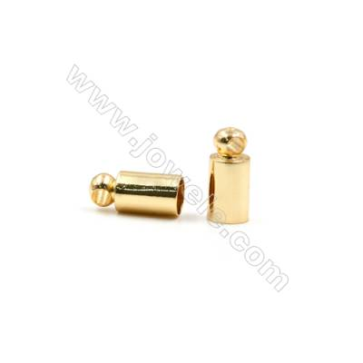 Brass Plated Gold Cord Ends  Size 4x9mm  Inside Diameter 3.5mm  Hole 1.5mm  120pcs/pack