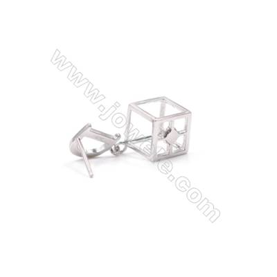 Platinum plated 925 silver cube ear stud findings for half drilled beads earring making 10x30mm x 1pair