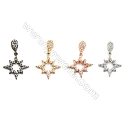 Brass Pendants  (Gold Platinum Rose Gold) Plated  Star  CZ Micropave  Size 17x18mm  10pcs/pack