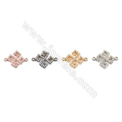 Brass Connectors, (Gold, Platinum, Gun Black) Plated, CZ Micropave, Size 14x18mm, Hole 1mm, 12pcs/pack