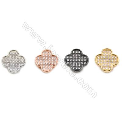 Brass Charms  Clover  (Gold Platinum Rose Gold Gun Black) Plated  CZ Micropave  Size 11x11mm  Thick 4mm  12pcs/pack