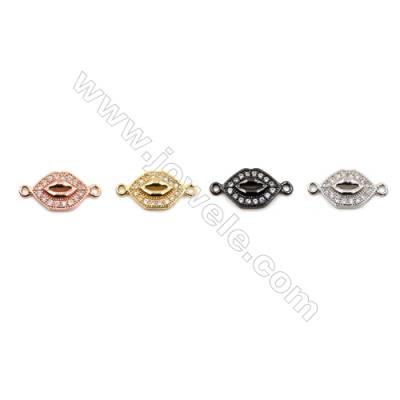 Brass Connectors, (Gold, Platinum, Rose Gold, Gun Black) Plated, Lips, CZ Micropave, Size 9x18mm, Hole 1mm, 20pcs/pack