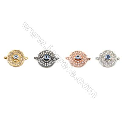Brass Connectors, (Gold, Platinum, Rose Gold, Gun Black) Plated, Round, CZ Micropave, Diameter 12mm, Hole 1mm, 10pcs/pack