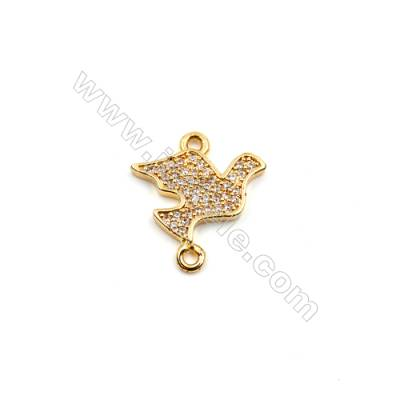 Brass Plated Gold Connectors, Birdie, CZ Micropave, Size 13x15mm, Hole 1mm, 12pcs/pack