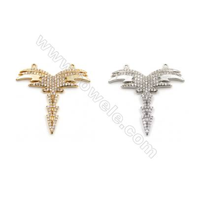 Brass Pendants  (Gold Platinum) Plated  Wing  CZ Micropave  Size 29x30mm  Hole 0.6mm  5pcs/pack