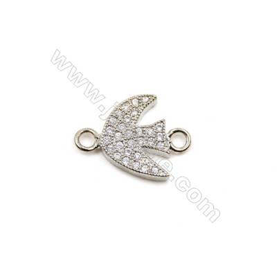 Brass Plated Platinum Connectors, Fish, CZ Micropave, Size 11x14mm, Hole 1.5mm, 15pcs/pack