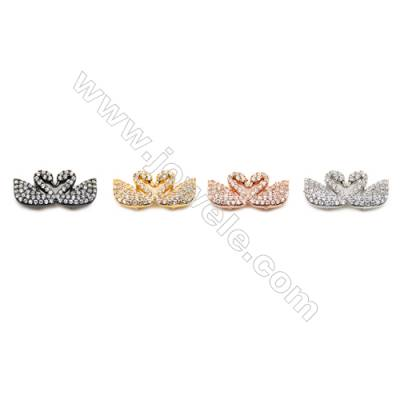 Brass Charms  (Gold Platinum Rose Gold Gun Black) Plated  Couple Swans  CZ Micropave  Size 9x20mm  Thick 4.5mm  8pcs/pack