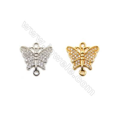 Brass Connectors, (Gold, Platinum) Plated, Butterfly, CZ Micropave, Size 14x15mm, Hole 1mm, 15pcs/pack