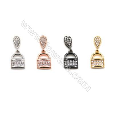 Brass Pendants  (Gold Platinum Rose Gold Gun Black) Plated  Lock  CZ Micropave  Size 9x10mm  20pcs/pack