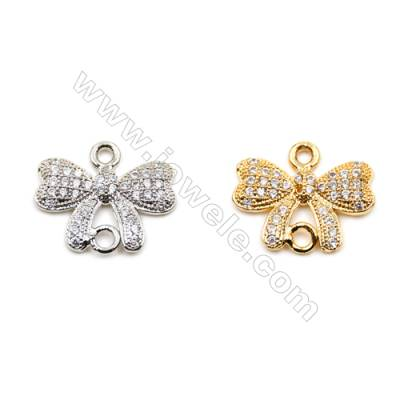 Brass Connectors, (Gold, Platinum) Plated, Butterfly, CZ Micropave, Size 13x15mm, Hole 1mm, 15pcs/pack