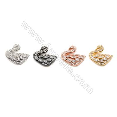 Brass Charms  (Gold Platinum Rose Gold Gun Black) Plated  Swan  CZ Micropave  Size 15x16mm Thick 5.5mm  8pcs/pack