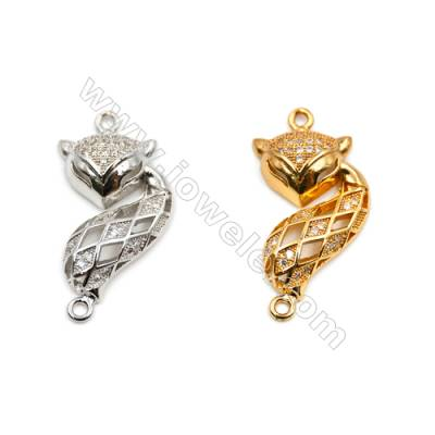 Brass Connectors, (Gold, Platinum) Plated, Fox, CZ Micropave, Size 16x33mm, Hole 1.5mm, 10pcs/pack