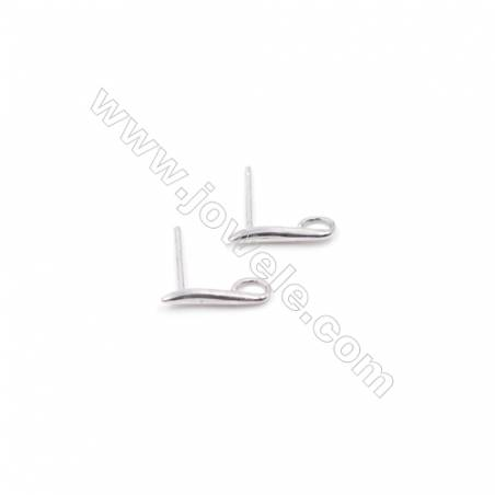 Jewelry findings platinum plated 925 sterling silver ear stud components for half drilled beads  12x14mm x 1pair