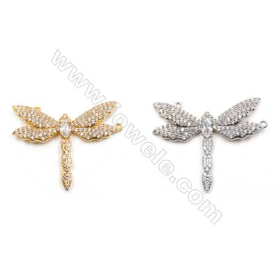Brass Connectors, (Gold, Platinum) Plated, Dragonfly, CZ Micropave, Size 25x32mm, Hole 0.8mm, 5pcs/pack