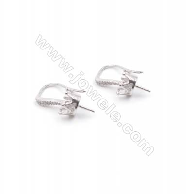 Jewelry findings platinum plated 925 silver earring hook with zircon micropave  fit for half drilled beads  10x15mm x 1pair