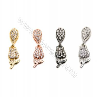 Brass Pendants  (Gold Platinum Rose Gold Gun Black) Plated  Roses  CZ Micropave  Size 6x11mm  15pcs/pack