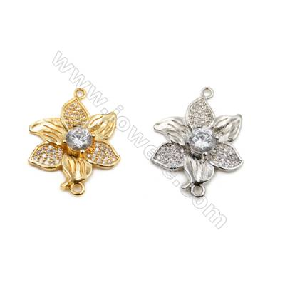 Brass Connectors, (Gold, Platinum) Plated, Flower, CZ Micropave, Size 20x26mm, Hole 1.5mm, 10pcs/pack