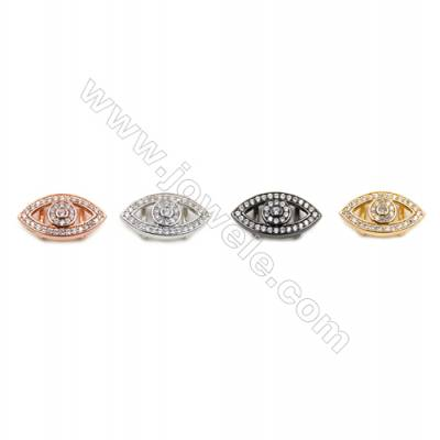 Brass Charms  (Gold Platinum Rose Gold Gun Black) Plated  CZ Micropave  Eye  Size 9x18mm  Thick 5.5mm  12pcs/pack