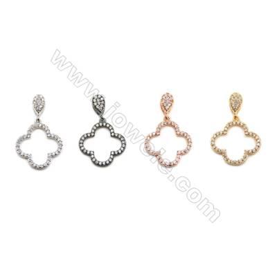 Brass Pendants  (Gold Platinum Rose Gold Gun Black) Plated  Clover  CZ Micropave  Size 17x17mm  10pcs/pack