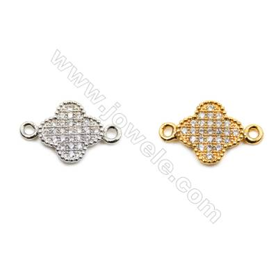 Brass Connectors, (Gold, Platinum) Plated, Flower, CZ Micropave, Size 10x15mm, Hole 1mm, 15pcs/pack