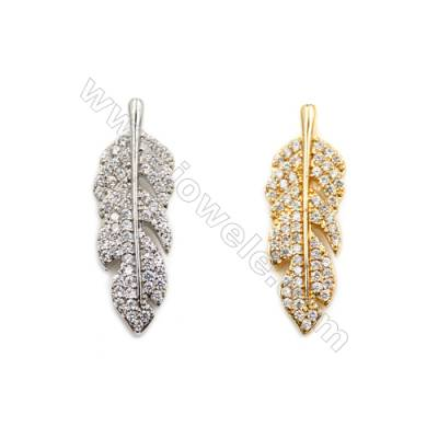 Brass Pendants  (Gold Platinum) Plated  Leaves  CZ Micropave  Size 8x23mm  10pcs/pack