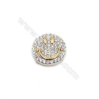 Brass Plated Platinum Charms  CZ Micropave  Size 12mm  Thick 4.5mm  8pcs/pack