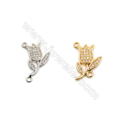 Brass Connectors, (Gold, Platinum) Plated, Flower, CZ Micropave, Size 13x20mm, Hole 1mm, 15pcs/pack