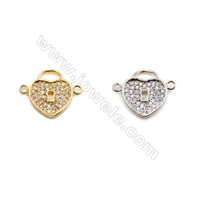 Brass Connectors, (Gold, Platinum) Plated, Heart, CZ Micropave, Size 14x17mm, Hole 1.5mm, 12pcs/pack
