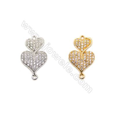 Brass Connectors, (Gold, Platinum) Plated, Heart, CZ Micropave, Size 13x22mm, Hole 1mm, 10pcs/pack