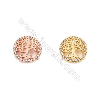 Brass Charms  (Gold Rose Gold) Plated  CZ Micropave  Life Tree  Size 13mm  Thick 4mm  16pcs/pack