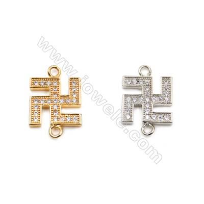 Brass Connectors, (Gold, Platinum) Plated, CZ Micropave, Size 12x18mm, Hole 1.5mm, 15pcs/pack
