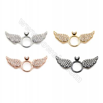 Brass Charms  (Gold Platinum Rose Gold Gun Black) Plated  CZ Micropave  Angel Wings  Size 13x33mm  Thick 4.5mm  8pcs/pack