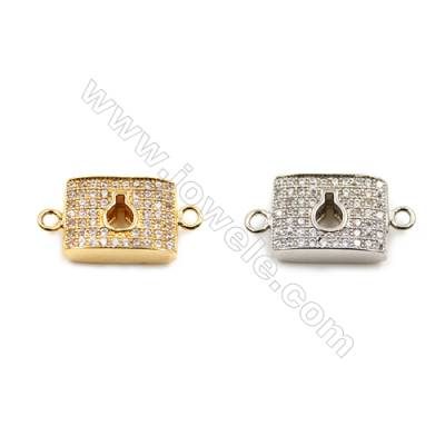 Brass Connectors, (Gold, Platinum) Plated, Rectangle, CZ Micropave, Size 9x18mm, Hole 1.5mm, 10pcs/pack