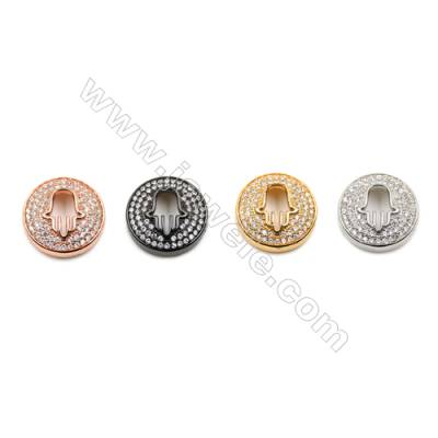 Brass Charms  (Gold Platinum Rose Gold Gun Black) Plated  CZ Micropave  Round  Size 16mm  Thick 5mm  8pcs/pack