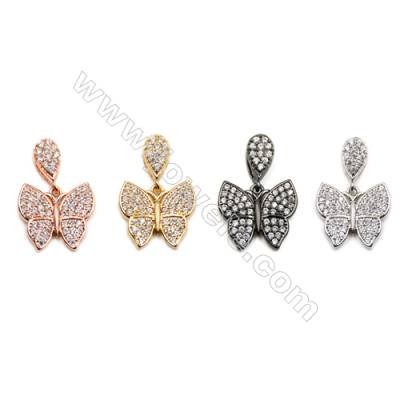 Brass Pendants  (Gold Platinum Rose Gold Gun Black) Plated  Butterfly  CZ Micropave  Size 12x13mm  10pcs/pack