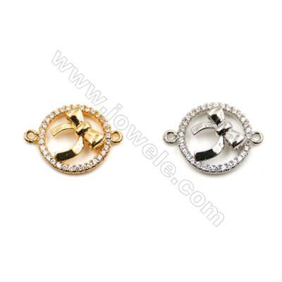 Brass Connectors, (Gold, Platinum) Plated, Round, CZ Micropave, Size 15x20mm, Hole 1mm, 15pcs/pack
