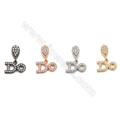 Brass Charms  (Gold Platinum Rose Gold Gun Black) Plated  CZ Micropave  Size 7x11mm  Thick 1.5mm  10pcs/pack