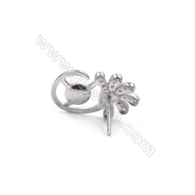 Platinum plated 925 sterling silver ear stud findings  zircon micro pave  fit for half drilled beads  11x18mm x 1pair