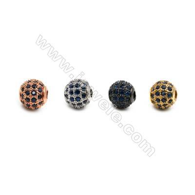 Brass Beads, (Gold, Platinum, Rose Gold, Gun Black) Plated, CZ Micropave (Dark Blue), Round, Size 6mm, Hole 1mm, 12pcs/pack