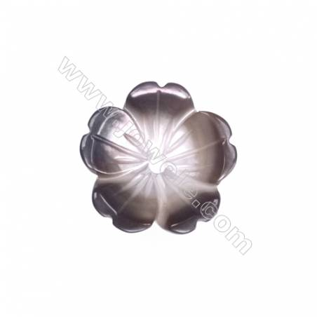 Five-leaf flower shaped grey shell mother-of-pearl, 10mm, hole 0.8mm, 30pcs/pack