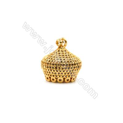 Brass Plated Gold Pendants  Crown  CZ Micropave  Size 15x16mm  4pcs/pack