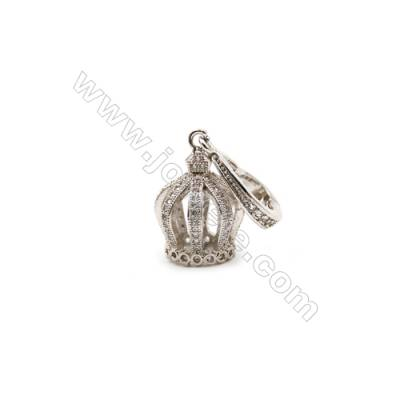 Brass Plated Platinum Pendants  Crown  CZ Micropave  Size 12x12mm  4pcs/pack