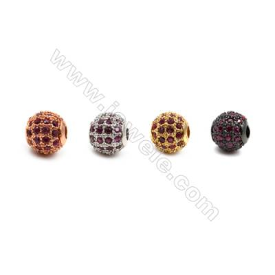 Brass Beads, (Gold, Platinum, Rose Gold, Gun Black) Plated, CZ Micropave (Red), Round, Size 6mm, Hole 1mm, 12pcs/pack