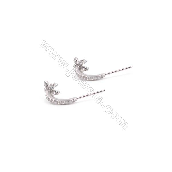 925 sterling silver platinum plated zircon Hook Earring Findings for half drilled beads  14x19mm x 1pair