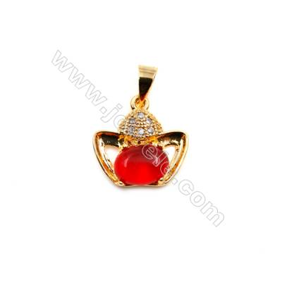 Brass Plated Gold Pendants  CZ Micropave  Size 14x14mm  15pcs/pack