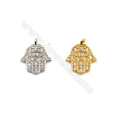 Brass Pendants  (Gold Platinum) Plated  Hand  CZ Micropave  Size 12x14mm  15pcs/pack