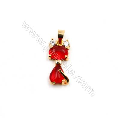 Brass Plated Gold Pendants  Cat  CZ Micropave  Size 8x19mm  15pcs/pack