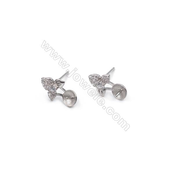 Platinum plated 925 sterling silver three-leaf ear stud findings  tray for half drilled beads  zircon micro pave  8x13mm x 1pair
