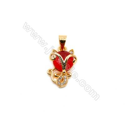 Brass Plated Gold Pendants  Cat  CZ Micropave  Size 10x17mm  15pcs/pack