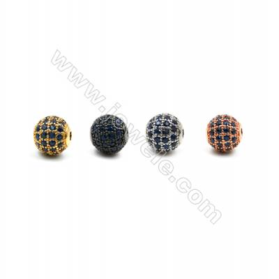 Brass Beads, (Gold, Platinum, Rose Gold, Gun Black) Plated, CZ Micropave (Dark Blue), Round, Size 8mm, Hole 1.5mm, 8pcs/pack